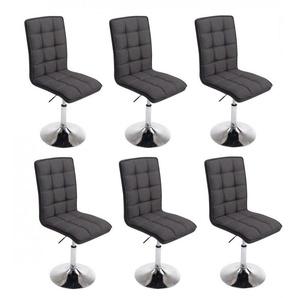 Lot de 6 chaises de salle à manger hauteur réglable en tissu gris foncé - DéCOSHOP26