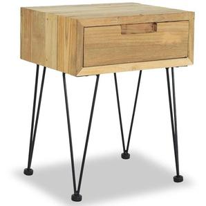Table de nuit chevet commode armoire meuble chambre 40 x 30 x 50 cm teck - Noir - HELLOSHOP26