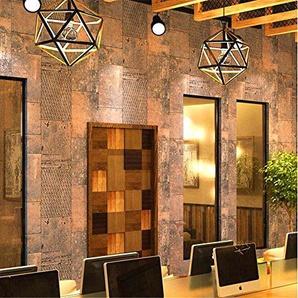 QXLML Rétro vent industriel papier peint abstraite fer bois papier peint fond décran salon fond mur PVC papier peint 10 * 0,53 (M) ( Color : Rusty brown )