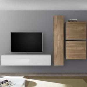 Composition murale TV blanc laqué et couleur chêne PUNTA