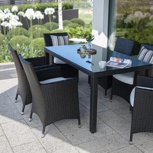 Table de jardin en rotin 160 cm - 6 chaises en rotin - coussins blanc cassé - ITALY