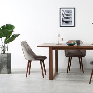 Lule, lot de 2 chaises, velours gris pâle et gris anthracite et noyer
