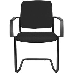 Topstar Chaise empilable rembourrée, lot de 2 - chaise à piétement luge - piétement noir, rembourrage noir - CERTEO