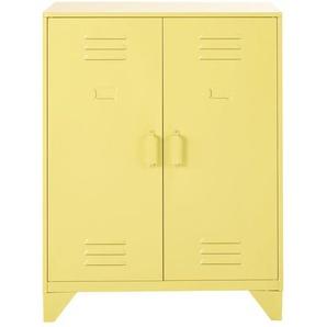 Cabinet de rangement indus 2 étagères en métal jaune Sunset