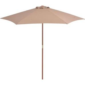 Parasol avec mât en bois 270 cm Taupe - VIDAXL