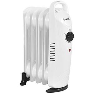 [pro.tec] Radiateur à Bain dHuile 500 W 230 V Thermostat Réglable 24 x 13,4 x 37 cm Silencieux Polypropylène Acier Blanc