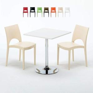 Table Carrée Blanche 70x70cm Avec 2 Chaises Colorées Grand Soleil Set Intérieur Bar Café PARIS COCKTAIL | Beige