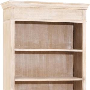 Etagère bois exotique blanchi 4 niveaux 3 tiroirs