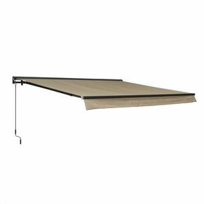 Store banne Shado 4x3m semi coffre taupe, aluminium, système manuel, toile polyester enduite 280g - ALICES GARDEN