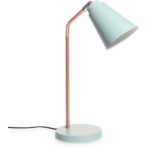 Lampe de bureau en métal cuivré et bleu clair JESSIE
