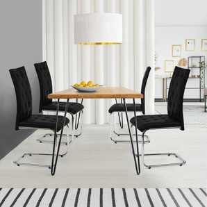 Lot de 4 chaises MIA capitonnées noires pour salle à manger - IDMARKET