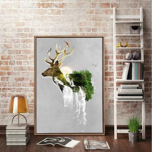 wjwei Abstract Nordic Deer Head Pop Art Canvas Paintings Digital Printing Red Color Animals Deer Modern Home Decor Pictures 50X75Cm Unframed Multi