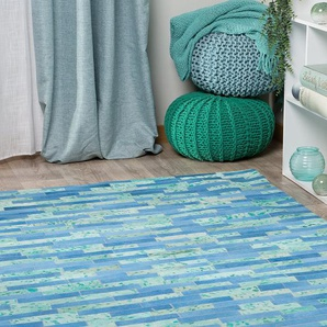 Tapis en cuir bleu et vert 160 x 230 cm ERZURUM