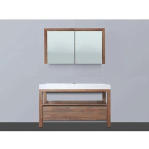 Saniclass Natural Wood Meuble avec armoire miroir 120cm Grey Oak avec vasque Blanche 1 trou pour robinetterie SW8039