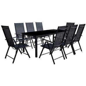 Mobilier à dîner dextérieur pliable 9 pcs Aluminium Noir - VIDAXL