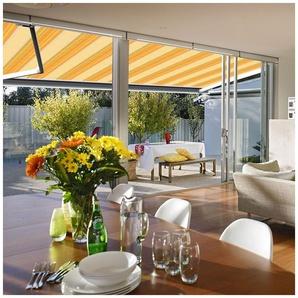 Store banne extérieur coffre intégral motorisé et manuel pour terrasse - Jaune rayé - 3,5 x 3 m - SUNNY INCH ®