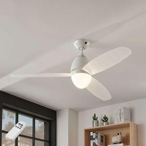 Ventilateur plafond Piara, éclairé, blanc brillant