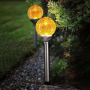 Lampe solaire LED Roma avec boule verre, lot de 2