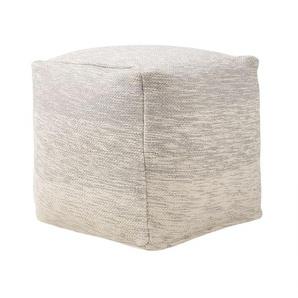 Pouf carré en tissu gris clair moderne et confort - BELIANI