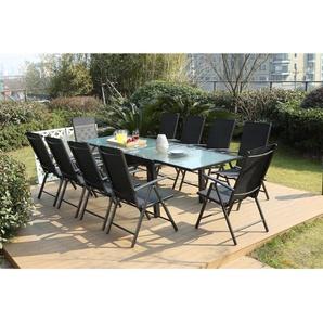 Brescia 10 : Ensemble de jardin en aluminium table extensible + 10 chaises en textilène - CONCEPT-USINE
