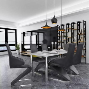 Chaises de salle à manger Cantilever 6 pcs Noir cuir artificiel
