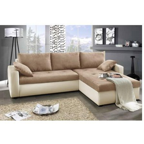 Canapé dangle convertible réversible FOCUS 240x140cm - Couleur: Brun_Beige - Brun_Beige - AZURA HOME DESIGN