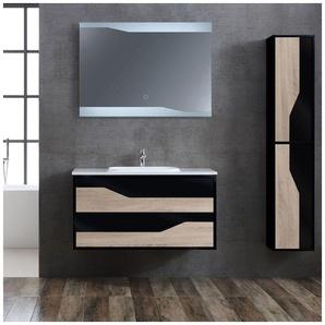 Meuble de salle de bain simple vasque URBINO 1000 Scandinave et Noir - DISTRIBAIN