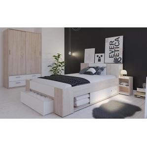 DETROIT Ensemble meubles de chambre contemporain décor chêne brossé et blanc perle - l 140 x L 190 / 200 cm