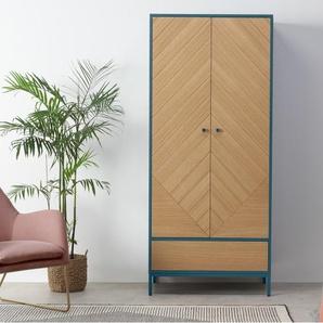 Mera, armoire 2 portes, chêne et fini bleu canard
