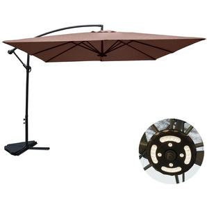 Solenzara à LED chocolat : Parasol à LED déporté 3x3m