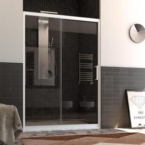 Porte de Douche en PVC 110 CM H190 Transparent mod. Glax Porte Unique Profil Blanc - IDRALITE