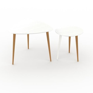 Tables basses gigognes - Blanc, triangulaire/ronde, design scandinave, set de 2 tables basses - 59/40 x 50/44 x 61/40 cm, personnalisable