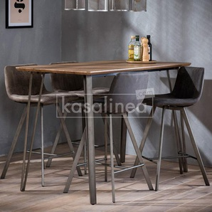 Table haute couleur bois et métal CAMBRIDGE