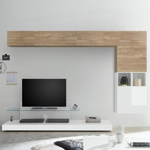 Meuble mural TV blanc et couleur chêne clair LUCANO