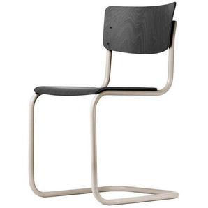 Thonet S 43 Classics in Colour - Chaise cantilever - noir/hêtre teinté/support gris chaud/patins de protection incl.