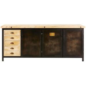 Buffet 3 portes 5 tiroirs en métal noir et manguier massif Colombus