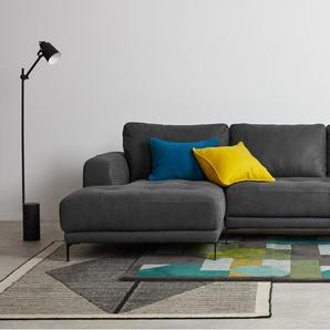 Luciano, canapé d'angle avec méridienne à gauche, cuir gris