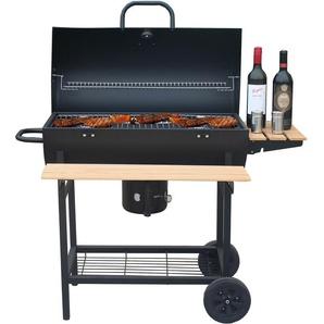 barbecue à charbon 70x35cm avec chariot - smoker chef xl - robby