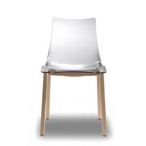 Chaise transparente design avec pieds bois - NATURAL ZEBRA