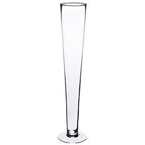 INNA Glas - Grand vase conique WANJA sur pied, transparent, 60 cm, Ø 13 cm - Grand vase en verre / Vase décoratif