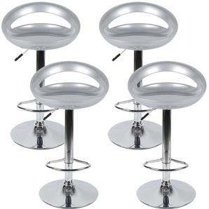 Lot de 4 Tabourets de bar design plastique ABS dossier gris - OOBEST