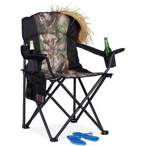 Fauteuil de pêche, Chaise de camping pliante, Porte-boissons, Poche de rangement, 113 kg, noir-vert - RELAXDAYS