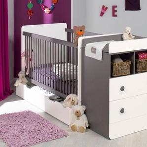 Chambre bébé évolutive Malte Taupe/Blanc avec Tiroir et Matelas