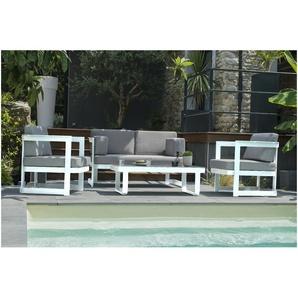 Salon de jardin BARCELONA 4P en aluminium - BLANC - DCB GARDEN