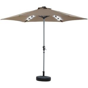 Parasol jardin droit LED Alu Sol Luxe - Rond - Ø 3m - Taupe - Avec pied lesté - HABITAT ET JARDIN