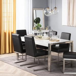 Chaise de salle à manger acier inox et cuir noir ARCTIC
