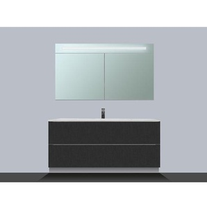Saniclass EVO Meuble avec armoire miroir 80cm 1 trou pour robinetterie Black Diamond