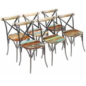 Chaises de salle a manger 6 pieces Bois massif recycle - ASUPERMALL