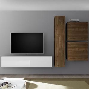 Meuble TV mural blanc laqué et couleur noyer PUNTA