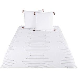 Parure de lit en coton beige, noir et terracotta à motifs brodés 240x260